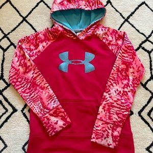 Under Armour Girls Red Blue Glitter Sweatshirt